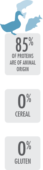 85% of proteins are of animal origin - 0% cereal - 0% gluten